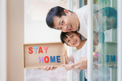 Dad and Son, Stay home banner